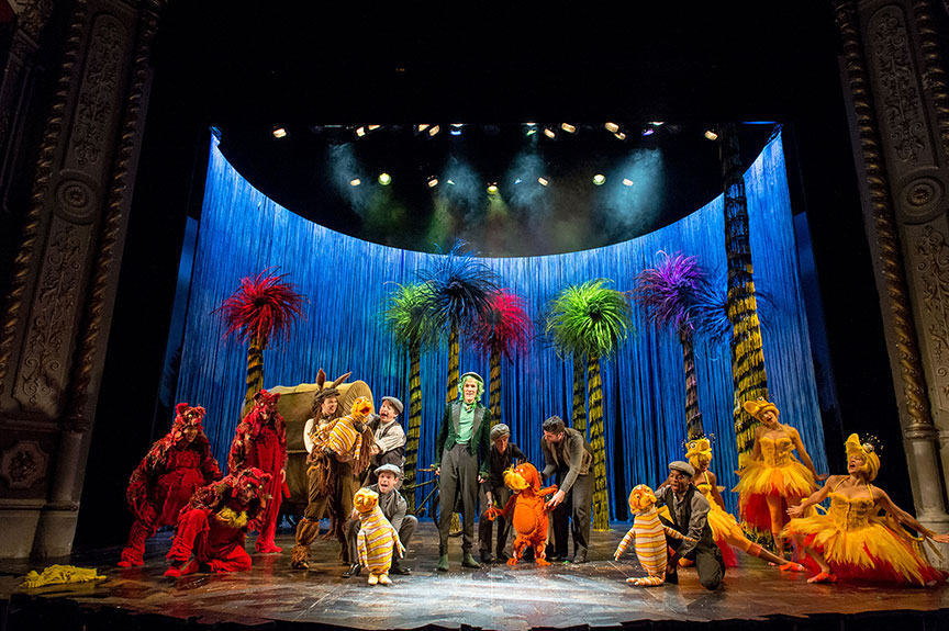 The cast of Dr. Seuss's The Lorax at The Old Vic, 2015. Dr. Seuss's The Lorax runs July 2 – August 12, 2018 at The Old Globe. Photo by Manuel Harlan.