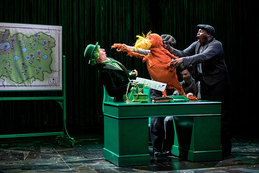 (from left) Steven Epp as The Once-ler, Meghan Kreidler, Rick Miller, and H. Adam Harris as The Lorax in Dr. Seuss's The Lorax, running July 2 – August 12, 2018 at The Old Globe. Photo by Dan Norman.