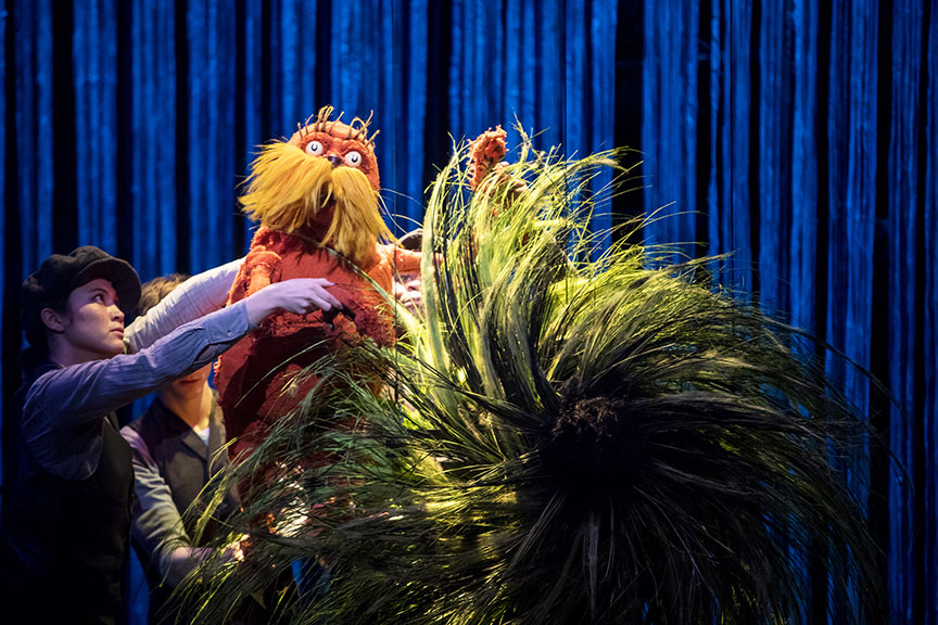 (from left) Meghan Kreidler, Rick Miller, and H. Adam Harris as The Lorax in Dr. Seuss's The Lorax, running July 2 – August 12, 2018 at The Old Globe. Photo by Dan Norman.