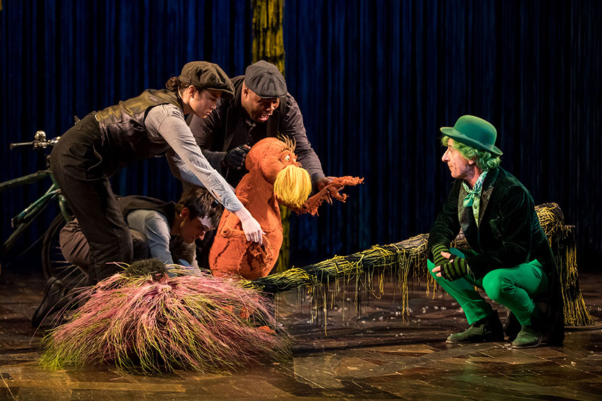 (from left) Meghan Kreidler, Rick Miller, and H. Adam Harris as The Lorax and Steven Epp as The Once-ler in Dr. Seuss's The Lorax, running July 2 – August 12, 2018 at The Old Globe. Photo by Dan Norman.