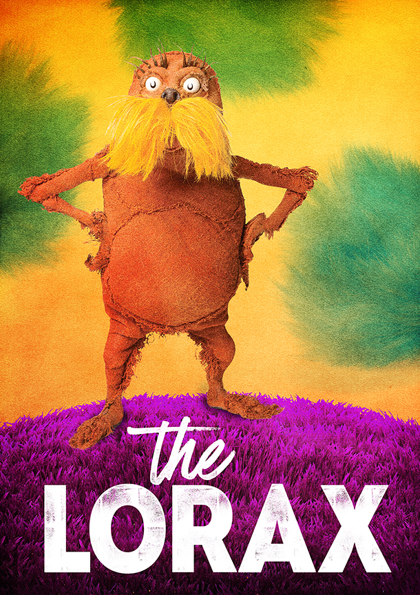 Dr. Seuss's The Lorax, running July 2 – August 12, 2018 at The Old Globe. Artwork courtesy of The Old Globe.