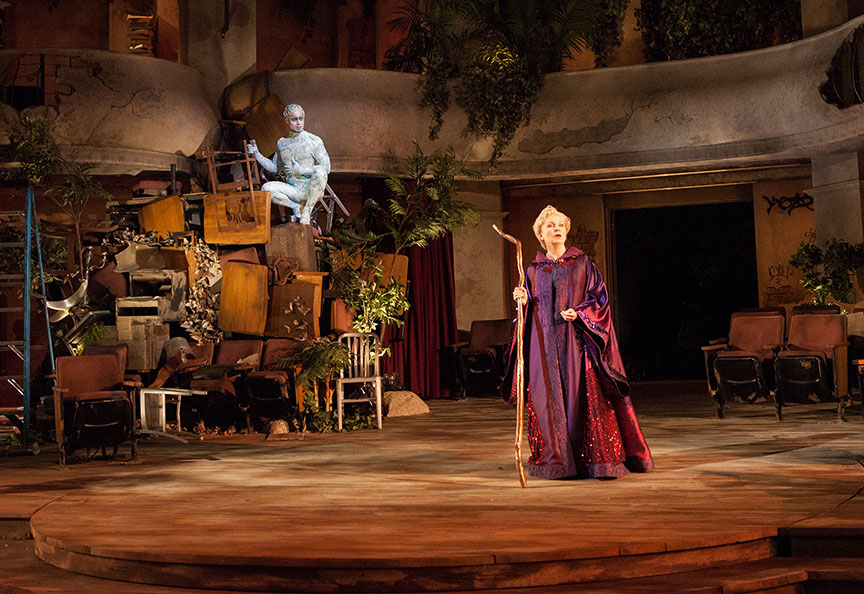 Philippe Bowgen as Ariel and Kate Burton as Prospera in The Tempest, by William Shakespeare, runs June 17 – July 22, 2018 at The Old Globe. Photo by Jim Cox.