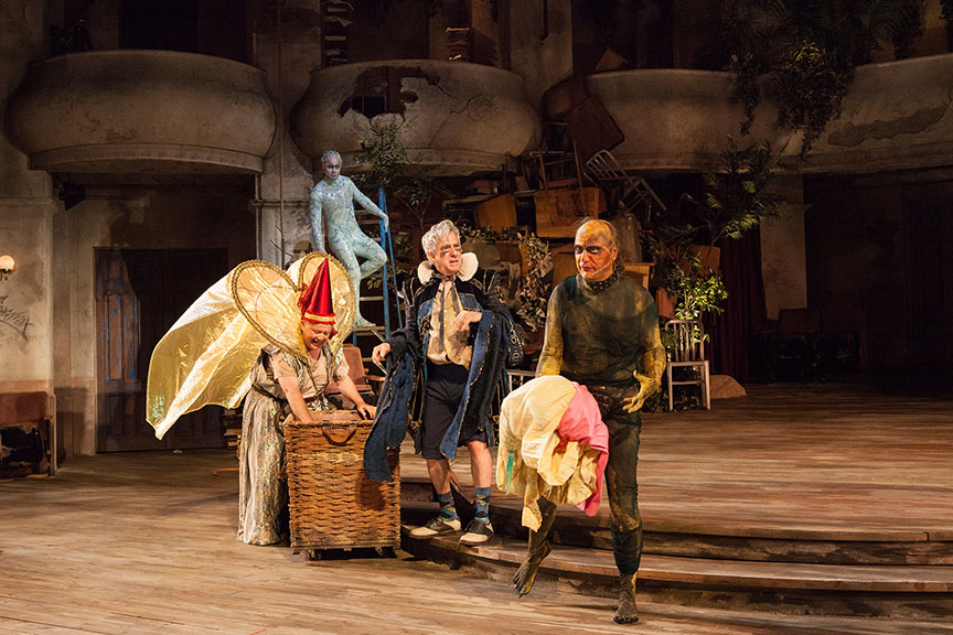 (from left) Andrew Weems as Trinculo, Philippe Bowgen as Ariel, Robert Dorfman as Stephano, and Manoel Felciano as Caliban in The Tempest, by William Shakespeare, runs June 17 – July 22, 2018 at The Old Globe. Photo by Jim Cox.