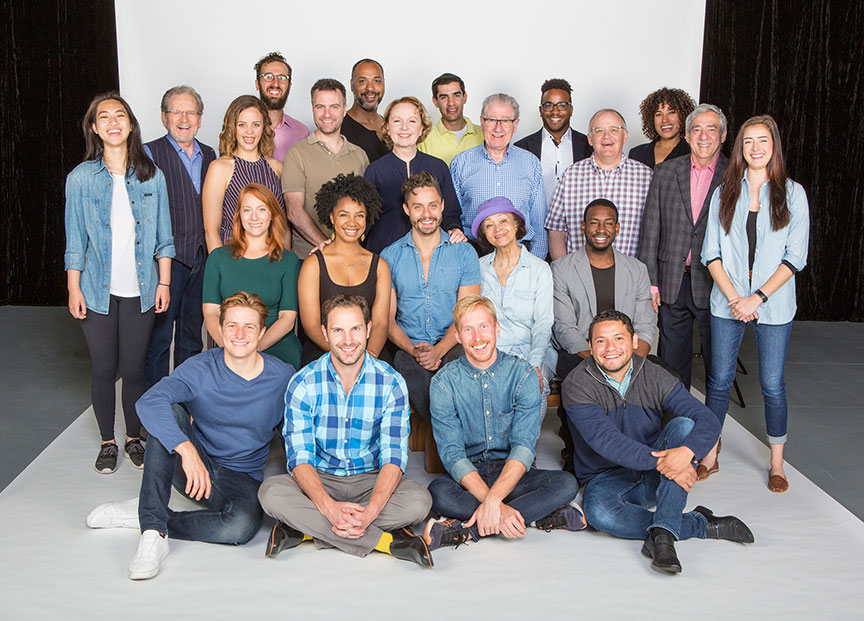 The cast of The Tempest with director Joe Dowling (center). The Tempest, by William Shakespeare, running June 17 – July 22, 2018 at The Old Globe. Photo by Jim Cox.