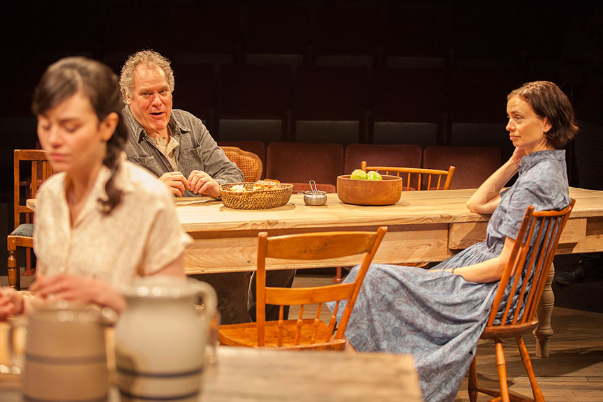 (from left) Celeste Arias as Eléna, Jay O. Sanders as Ványa, and Yvonne Woods as Sónya Alexándrivna in Uncle Vanya, translated by Richard Pevear and Larissa Volokhonsky, directed and translated by Richard Nelson, running February 10 – March 11, 2018 at The Old Globe. Photo by Jim Cox.