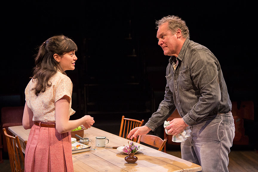 Celeste Arias as Eléna and Jay O. Sanders as Ványa in Uncle Vanya, translated by Richard Pevear and Larissa Volokhonsky, directed and translated by Richard Nelson, running February 10 – March 11, 2018 at The Old Globe. Photo by Jim Cox.