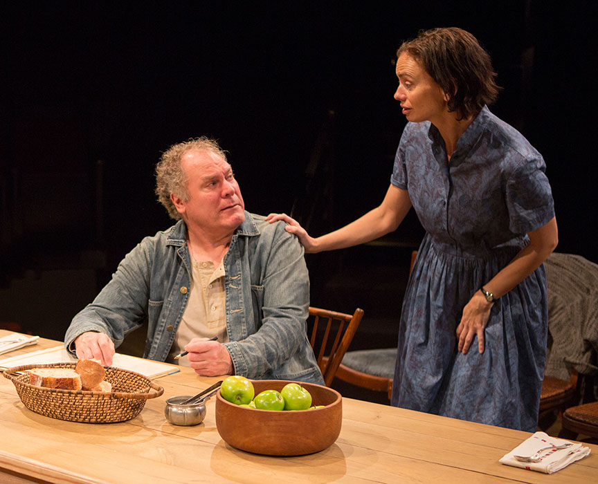 Jay O. Sanders as Ványa and Yvonne Woods as Sónya Alexándrivna in Uncle Vanya, translated by Richard Pevear and Larissa Volokhonsky, directed and translated by Richard Nelson, running February 10 – March 11, 2018 at The Old Globe. Photo by Jim Cox.