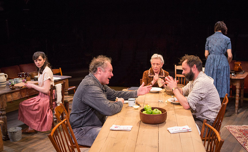 (from left) Celeste Arias as Eléna, Jay O. Sanders as Ványa, Roberta Maxwell as Márya, Jesse Pennington as Ástrov, and Yvonne Woods as Sónya in Uncle Vanya, translated by Richard Pevear and Larissa Volokhonsky, directed and translated by Richard Nelson, running February 10 – March 11, 2018 at The Old Globe. Photo by Jim Cox.