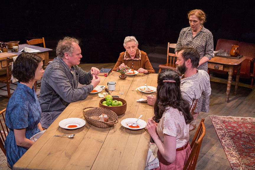 The cast of Uncle Vanya, translated by Richard Pevear and Larissa Volokhonsky, directed and translated by Richard Nelson, running February 10 – March 11, 2018 at The Old Globe. Photo by Jim Cox.