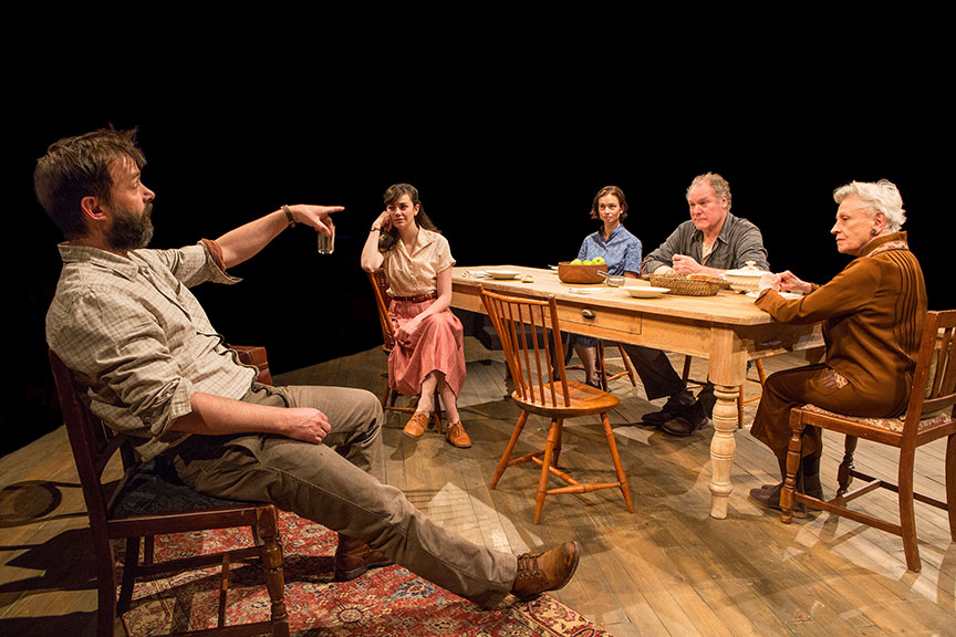 (from left) Jesse Pennington as Ástrov, Celeste Arias as Eléna, Yvonne Woods as Sónya, Jay O. Sanders as Ványa, and Roberta Maxwell as Márya in Uncle Vanya, translated by Richard Pevear and Larissa Volokhonsky, directed and translated by Richard Nelson, running February 10 – March 11, 2018 at The Old Globe. Photo by Jim Cox.