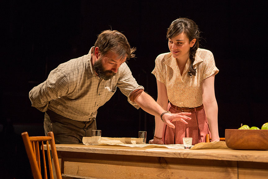 Jesse Pennington as Ástrov and Celeste Arias as Eléna in Uncle Vanya, translated by Richard Pevear and Larissa Volokhonsky, directed and translated by Richard Nelson, running February 10 – March 11, 2018 at The Old Globe. Photo by Jim Cox.
