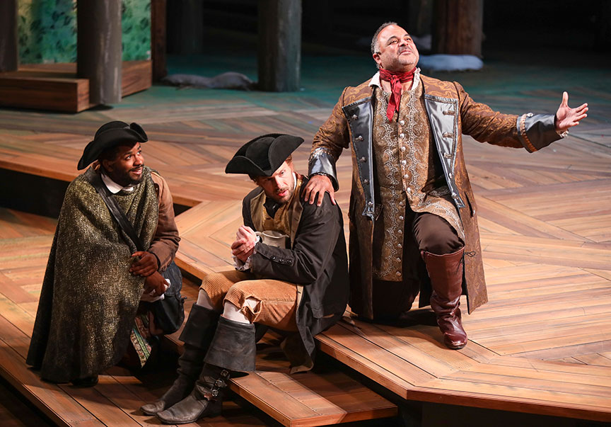 Jersten Seraile as Sir Oliver Martext, Jared Van Heel as William, and Cornell Womack as Duke Senior in As You Like It, by William Shakespeare, directed by Jessica Stone, running June 16 – July 21, 2019 at The Old Globe. Photo by Jim Cox.