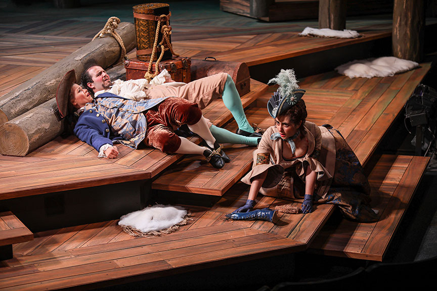 Meredith Garretson as Ganymede, Vincent Randazzo as Touchstone, and Nikki Massoud as Celia in As You Like It, by William Shakespeare, directed by Jessica Stone, running June 16 – July 21, 2019 at The Old Globe. Photo by Jim Cox.