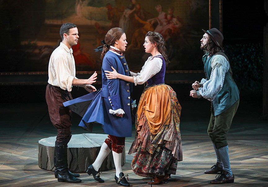 Jon Orsini as Orlando, Meredith Garretson as Ganymede, Morgan Taylor as Phoebe, and Mason Conrad as Silvius in As You Like It, by William Shakespeare, directed by Jessica Stone, running June 16 – July 21, 2019 at The Old Globe. Photo by Jim Cox.