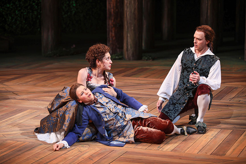 Meredith Garretson as Rosalind, Nikki Massoud as Celia, and Aubrey Deeker Hernandez as Oliver in As You Like It, by William Shakespeare, directed by Jessica Stone, running June 16 – July 21, 2019 at The Old Globe. Photo by Jim Cox.