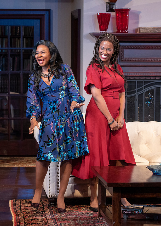 (from left) Ramona Keller as Margaret Munyewa and Zakiya Young as Tendikayi in Familiar, running January 26 – March 3, 2019 at The Old Globe. Photo by J.T. MacMillan.