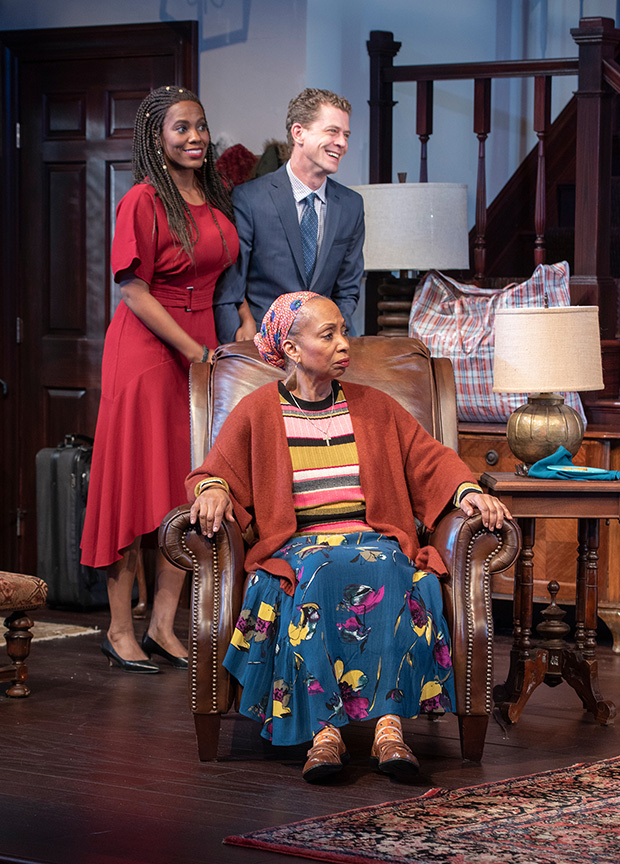 (from left) Zakiya Young as Tendikayi, Wandachristine as Anne, and Lucas Hall as Chris in Familiar, running January 26 – March 3, 2019 at The Old Globe. Photo by J.T. MacMillan.