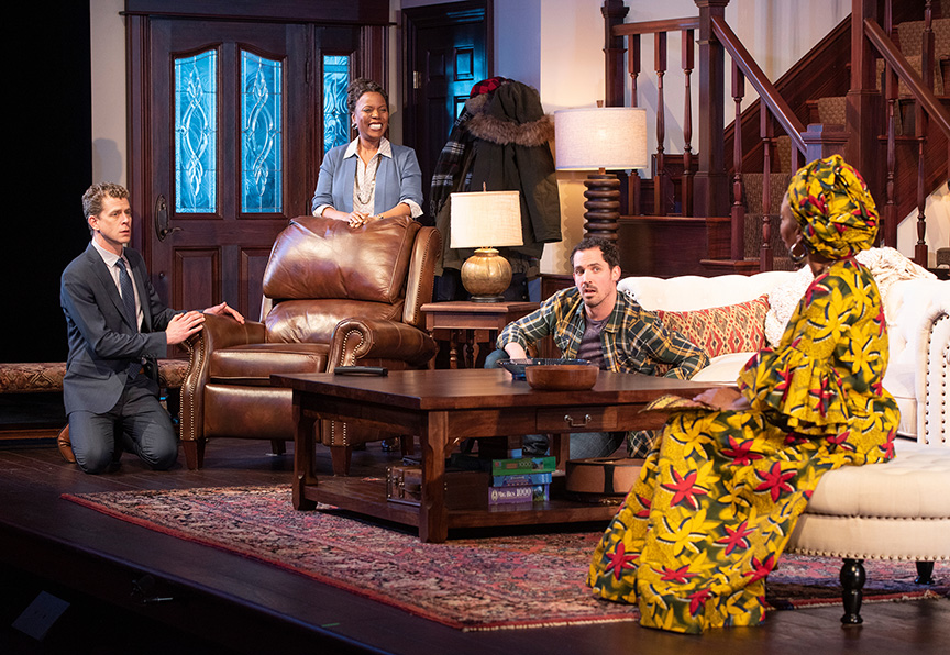 (from left) Lucas Hall as Chris, Cherene Snow as Marvelous Chinyaramwira, Anthony Comis as Brad, and Wandachristine as Anne in Familiar, running January 26 – March 3, 2019 at The Old Globe. Photo by J.T. MacMillan.