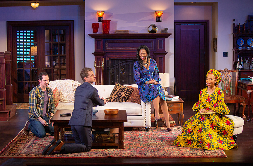 (from left) Anthony Comis as Brad, Lucas Hall as Chris, Ramona Keller as Margaret Munyewa, and Wandachristine as Anne in Familiar