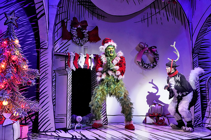 As The Grinch And Tommy Martinez As Young Max In Dr Seusss How The Grinch Stole Christmas Book And Lyrics By Timothy Mason Music By Mel Marvin