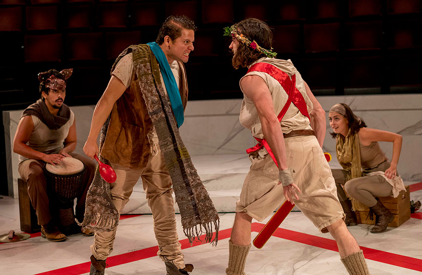 (from left) Marco Antonio Vega, Carlos Angel-Barajas, Mason Conrad, and Morgan Taylor in The Old Globe and University of San Diego Shiley Graduate Theatre Program presentation of Shakespeare's Julius Caesar, directed by Allegra Libonati, October 20–28, 2018 at The Old Globe. Photo by Daren Scott.