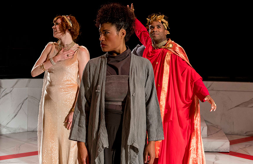 (from left) Summer Broyhill as Calphurnia, Yadira Correa as Caisus Cassius, and Jersten Seraile as Julius Caesar in The Old Globe and University of San Diego Shiley Graduate Theatre Program presentation of Shakespeare's Julius Caesar, directed by Allegra Libonati, October 20–28, 2018 at The Old Globe. Photo by Daren Scott.