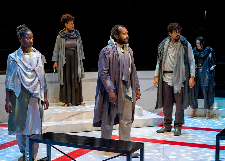 (from left) Bibi Mama as Trebonius, Yadira Correa as Caisus Cassius, Ramon Burris as Casca, Marco Antonio Vega as Metellus Cimber, and Morgan Taylor as Cinna in The Old Globe and University of San Diego Shiley Graduate Theatre Program presentation of Shakespeare's Julius Caesar, directed by Allegra Libonati, October 20–28, 2018 at The Old Globe. Photo by Daren Scott.