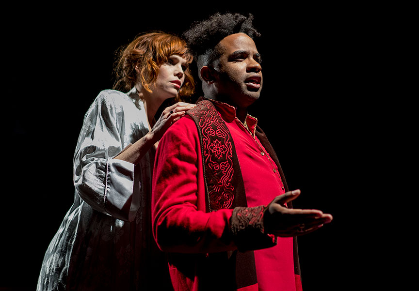 Summer Broyhill as Calphurnia and Jersten Seraile as Julius Caesar in The Old Globe and University of San Diego Shiley Graduate Theatre Program presentation of Shakespeare's Julius Caesar, directed by Allegra Libonati, October 20–28, 2018 at The Old Globe. Photo by Daren Scott.