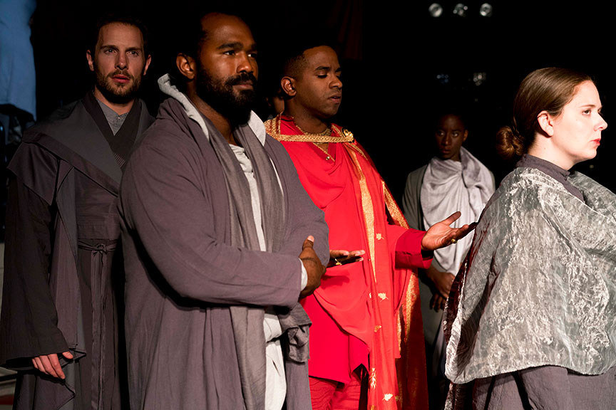 (from left) Jared Van Heel as Mark Antony, Ramon Burris as Casca, Jersten Seraile as Julius Caesar, Bibi Mama as Trebonius, and Hallie Peterson as Marcus Brutus in The Old Globe and University of San Diego Shiley Graduate Theatre Program presentation of Shakespeare's Julius Caesar, directed by Allegra Libonati, October 20–28, 2018 at The Old Globe. Photo by Daren Scott.