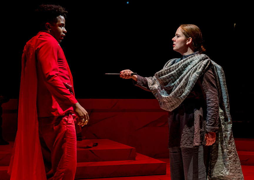 Jersten Seraile as Julius Caesar and Hallie Peterson as Marcus Brutus in The Old Globe and University of San Diego Shiley Graduate Theatre Program presentation of Shakespeare's Julius Caesar, directed by Allegra Libonati, October 20–28, 2018 at The Old Globe. Photo by Daren Scott.