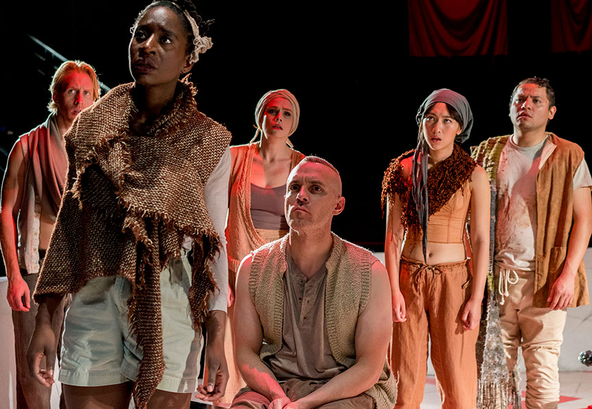 (from left) Eric Weiman, Bibi Mama, Summer Broyhill, Aubrey Deeker Hernandez, Wenona Truong, and Carlos Angel-Barajas in The Old Globe and University of San Diego Shiley Graduate Theatre Program presentation of Shakespeare's Julius Caesar, directed by Allegra Libonati, October 20–28, 2018 at The Old Globe. Photo by Daren Scott.