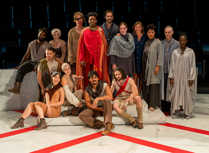 Director Allegra Libonati (back row, fourth from right) with the company of The Old Globe and University of San Diego Shiley Graduate Theatre Program presentation of Shakespeare's Julius Caesar, October 20–28, 2018 at The Old Globe. Photo by Daren Scott.