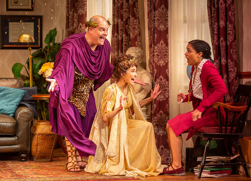 Brad Oscar as Dionysus, Jessie Cannizzaro as Thalia, and Shay Vawn as Daphne in Ken Ludwig's The Gods of Comedy, running May 11 – June 16, 2019 at The Old Globe. Photo by Jim Cox.
