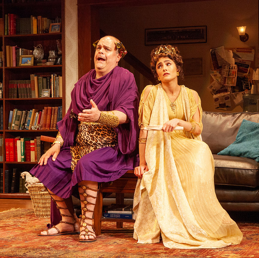 Brad Oscar as Dionysus and Jessie Cannizzaro in Ken Ludwig's The Gods of Comedy, running May 11 – June 16, 2019 at The Old Globe. Photo by Jim Cox.