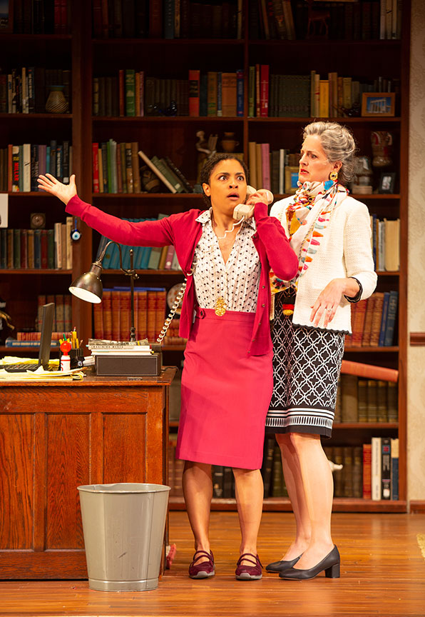 Shay Vawn as Daphne and Keira Naughton as Dean Trickett in Ken Ludwig's The Gods of Comedy, running May 11 – June 16, 2019 at The Old Globe. Photo by Jim Cox.