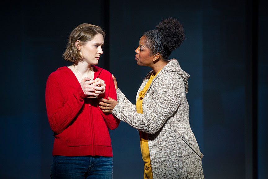 Sophie Hearn as Alice Carter and Dan'yelle Williamson as Ms. Hopkins in Life After, running March 22 – April 28, 2019 at The Old Globe. Photo by Jeremy Daniel.
