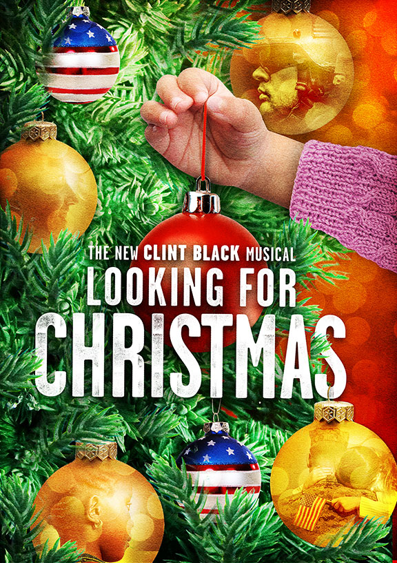 Clint Black's Looking for Christmas will run November 11 – December 31, 2018 at The Old Globe. Artwork courtesy of The Old Globe.
