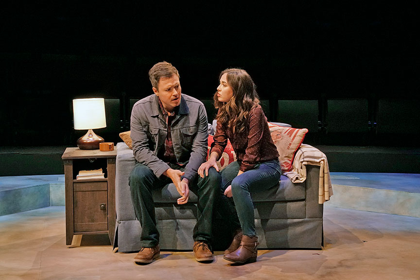 Aaron C. Finley as Mike Randolf and Liana Hunt as Jessie Randolf in Clint Black's Looking for Christmas, running November 11 – December 31, 2018 at The Old Globe. Photo by Ken Howard.
