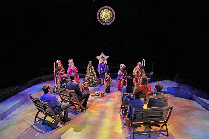 The cast of Clint Black's Looking for Christmas, running November 11 – December 31, 2018 at The Old Globe. Photo by Ken Howard.