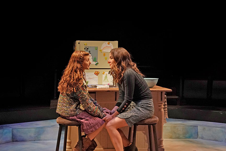 (from left) Kaylin Hedges as Ellie Randolf and Liana Hunt as Jessie Randolf in Clint Black's Looking for Christmas, running November 11 – December 31, 2018 at The Old Globe. Photo by Ken Howard.