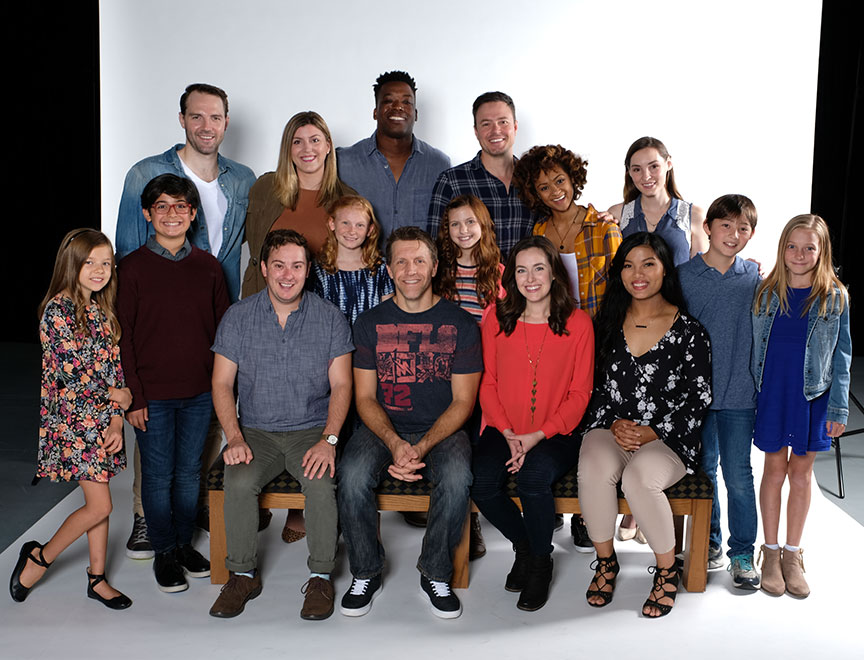 The cast of Clint Black's Looking for Christmas, running November 11 – December 31, 2018 at The Old Globe. Photo by Ken Jacques.