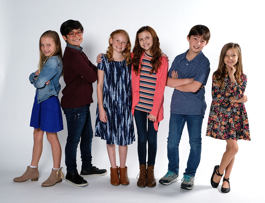 The young cast members of Clint Black's Looking for Christmas, running November 11 – December 31, 2018 at The Old Globe. Photo by Ken Jacques.