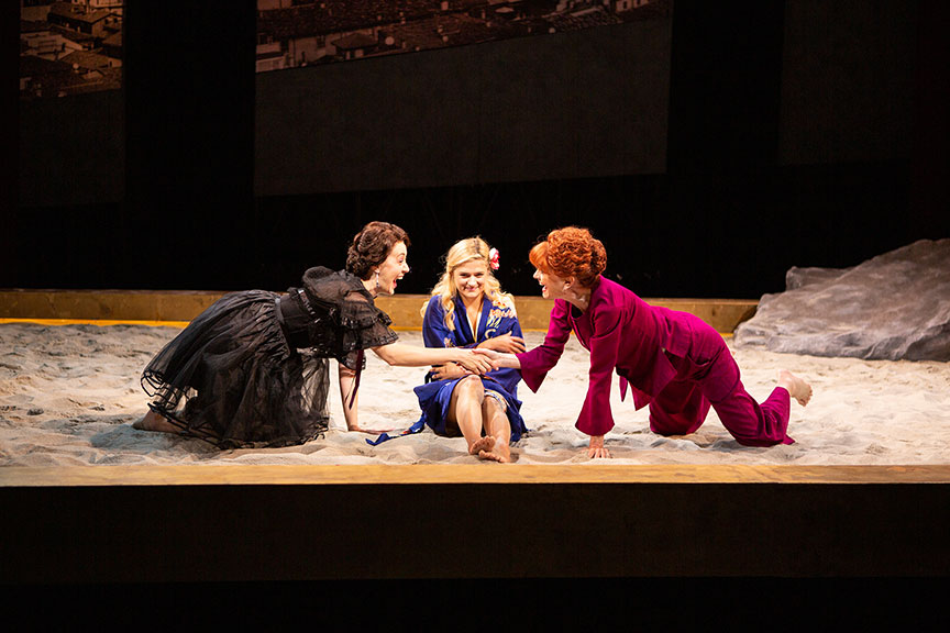 (from left) Sofia Jean Gomez as Lady Capulet, Louisa Jacobson as Juliet, and Candy Buckley as Nurse. Romeo and Juliet, by William Shakespeare and directed by Barry Edelstein, runs August 11 – September 15, 2019 at The Old Globe. Photo by Jim Cox.
