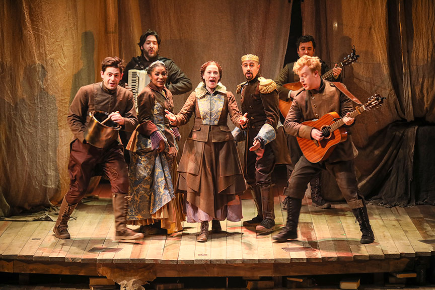 The cast of The Tale of Despereaux, book, music, and lyrics by PigPen Theatre Co., based on the novel by Kate DiCamillo and the Universal Pictures animated film, directed by Marc Bruni and PigPen Theatre Co., running July 6 – August 11, 2019 at The Old Globe. Photo by Jim Cox.