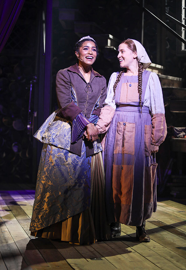 (from left) Taylor Iman Jones as Princess Pea and Betsy Morgan as Miggery Sow in The Tale of Despereaux, book, music, and lyrics by PigPen Theatre Co., based on the novel by Kate DiCamillo and the Universal Pictures animated film, directed by Marc Bruni and PigPen Theatre Co., running July 6 – August 11, 2019 at The Old Globe. Photo by Jim Cox.