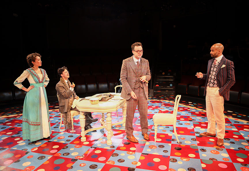 Regina De Vera as Louise Maske, Michael Bradley Cohen as Benjamin Cohen, Eddie Kaye Thomas as Theo Maske, and Luis Vega as Frank Versati in The Underpants, by Steve Martin, directed by Walter Bobbie, and adapted from Carl Sternheim, running July 27 – September 8, 2019 at The Old Globe. Photo by Jim Cox.