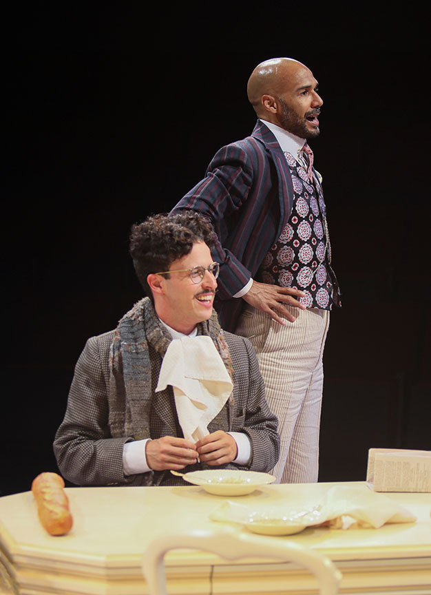 Michael Bradley Cohen as Benjamin Cohen and Luis Vega as Frank Versati in The Underpants, by Steve Martin, directed by Walter Bobbie, and adapted from Carl Sternheim, running July 27 – September 8, 2019 at The Old Globe. Photo by Jim Cox.