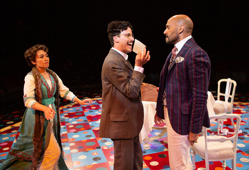 Regina De Vera as Louise Maske, Michael Bradley Cohen as Benjamin Cohen, and Luis Vega as Frank Versati in The Underpants, by Steve Martin, directed by Walter Bobbie, and adapted from Carl Sternheim, running July 27 – September 8, 2019 at The Old Globe. Photo by Jim Cox.Regina De Vera as Louise Maske, Michael Bradley Cohen as Benjamin Cohen, and Luis Vega as Frank Versati in The Underpants, by Steve Martin, directed by Walter Bobbie, and adapted from Carl Sternheim, running July 27 – September 8, 2019 at The Old Globe. Photo by Jim Cox.