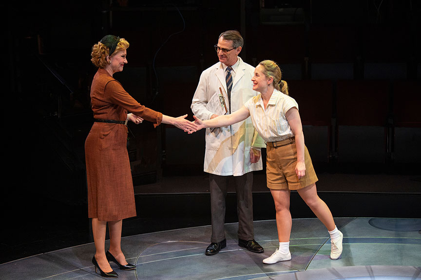 Mary Beth Fisher as Jackie Cochran, Matthew Boston as Dr. Randy Lovelace, and Morgan Hallett as Jerrie Cobb in They Promised Her the Moon, running April 6 – May 12, 2019 at The Old Globe. Photo by Jim Cox.