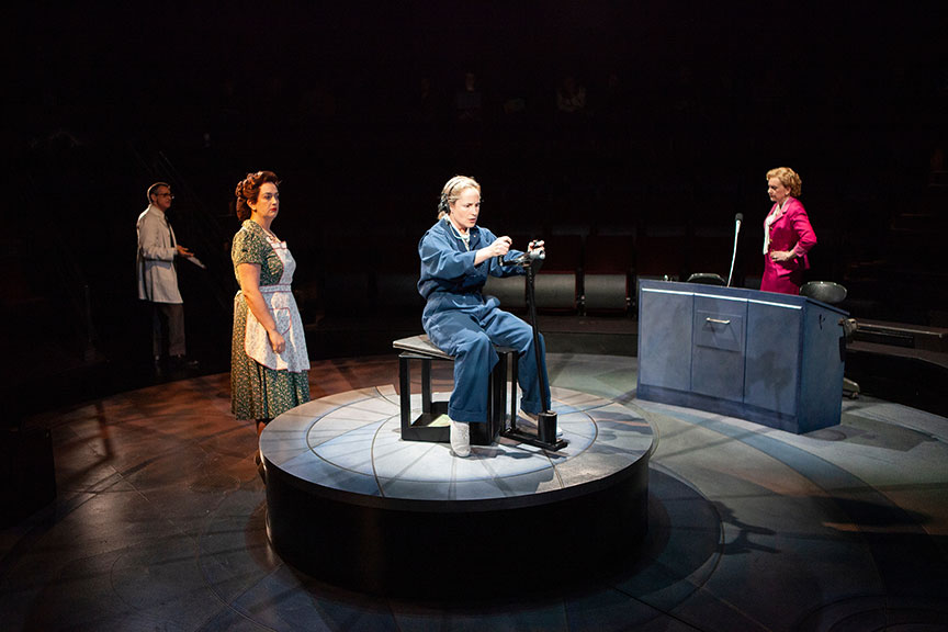 Matthew Boston as Dr. Randy Lovelace, Lanna Joffrey as Helena Cobb, Morgan Hallett as Jerrie Cobb, Mary Beth Fisher as Jackie Cochran in They Promised Her the Moon, running April 6 – May 12, 2019 at The Old Globe. Photo by Jim Cox.